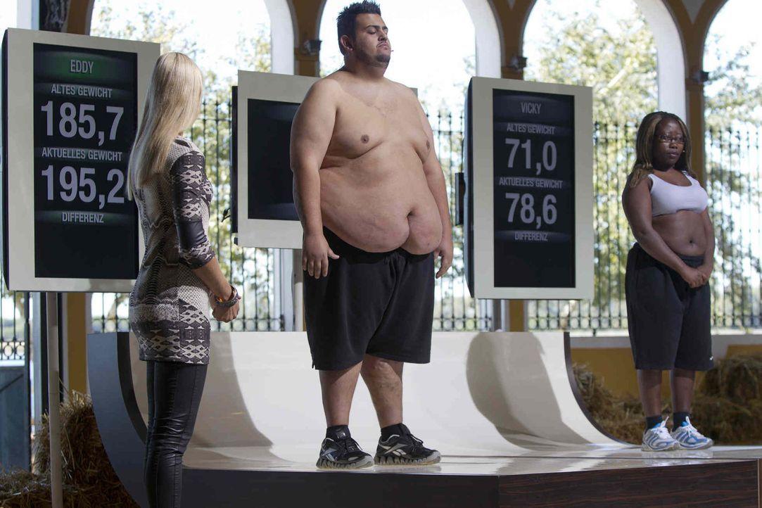 Die Kandidaten müssen sich bei schwierigen Prüfungen verausgaben, um so viel Gewicht wie möglich abzunehmen. Am Ende zeigt sich dann auf der Waage,... - Bildquelle: Enrique Cano SAT.1