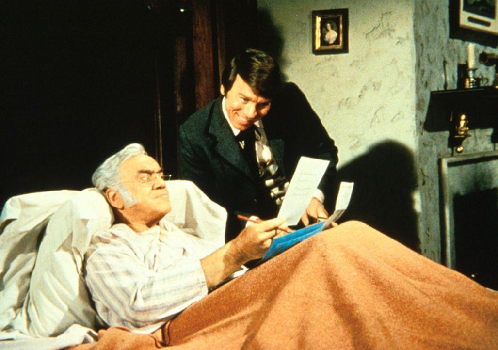 Als Ben Cartwright und seine Söhne verreisen, nutzt Bradley (Lorne Greene), der Ben zum Verwechseln ähnlich sieht, dies schamlos aus: Er wird angebl... - Bildquelle: Paramount Pictures