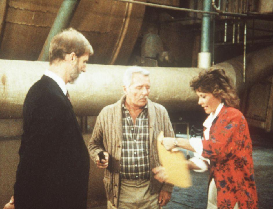 Der KGB-Offizier Gregory (James Cromwell, l.) wird von Harry W. Thornton (Howard Duff, M.) und Amanda (Kate Jackson, r.) überwältigt ...