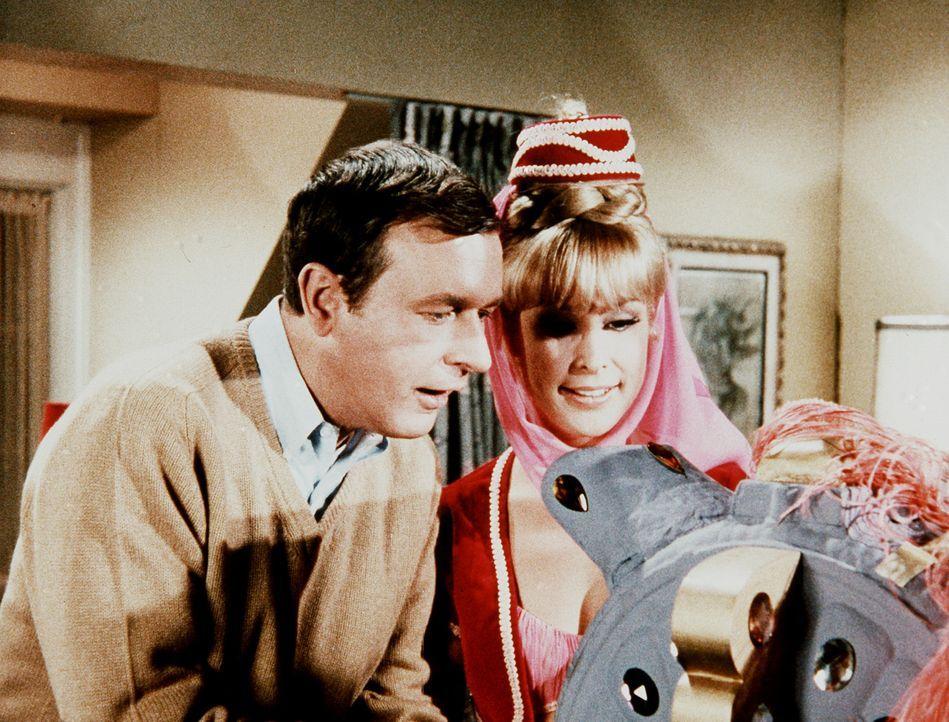 Roger (Bill Daily, l.) bittet Jeannie (Barbara Eden, r.), einen Blick in die Zukunft werfen zu dürfen, um zu sehen, was aus Tony wird, wenn er den n... - Bildquelle: Columbia Pictures