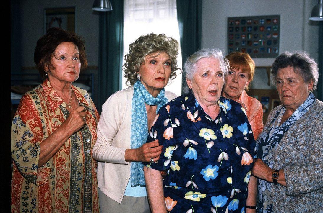 Resi Berghammer (Ruth Drexel, M.) feiert ihr 50-jähriges Klassentreffen. Versammelt haben sich ihre Mitschülerinnen Cornelia (Lis Verhoeven, l.), El... - Bildquelle: Magdalena Mate Sat.1