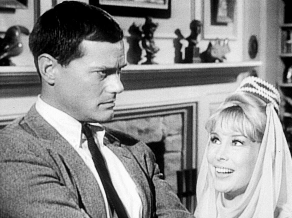 Der Astronaut Tony Nelson (Larry Hagman, l.) hat Jeannie (Barbara Eden, r.) nach zweitausend Jahren aus ihrer Flasche befreit ... - Bildquelle: Columbia Pictures