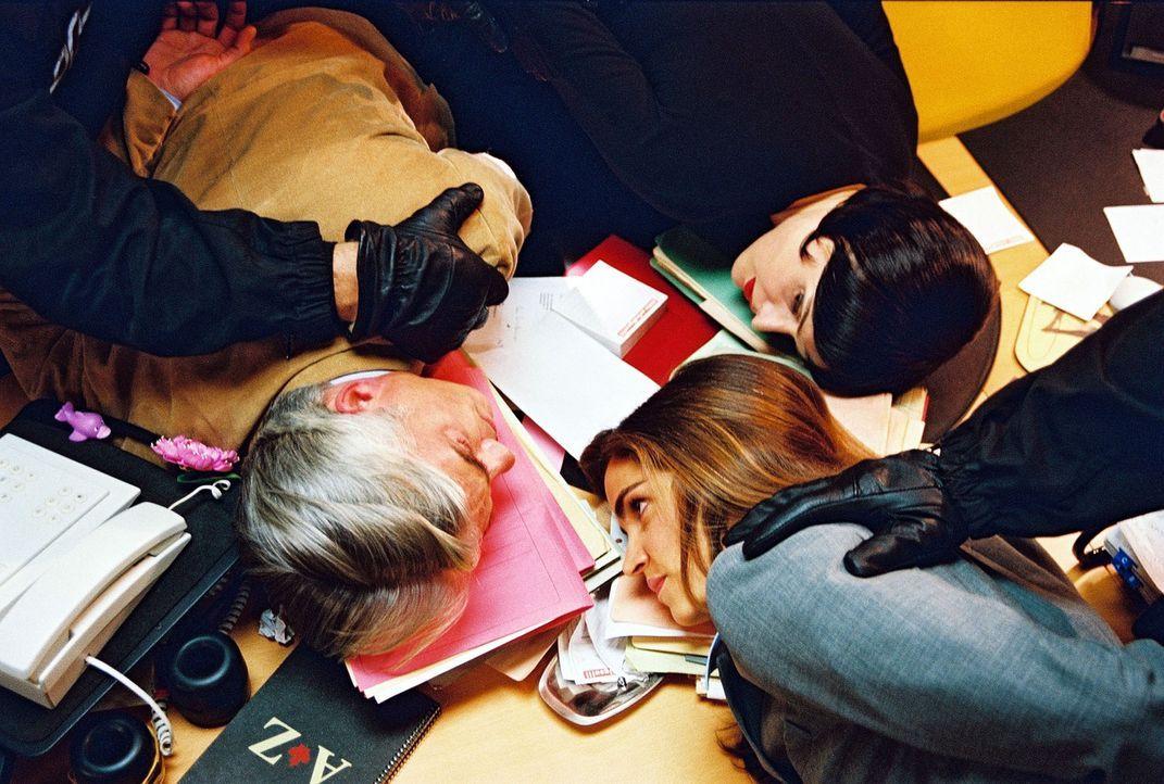 Felix (Christoph M. Ohrt, l.), Sandra (Rebecca Immanuel, M.) und Biene (Isabel Tuengerthal, r.) werden von der Polizei festgenommen ... - Bildquelle: Hardy Spitz Sat.1