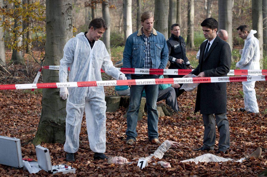 In einem Waldstück wird die Leiche von Silke Hansen gefunden. Schon bald finden Mick (Henning Baum, M.), Andreas (Maximilian Grill, r.) und Meisner... - Bildquelle: Martin Rottenkolber SAT.1