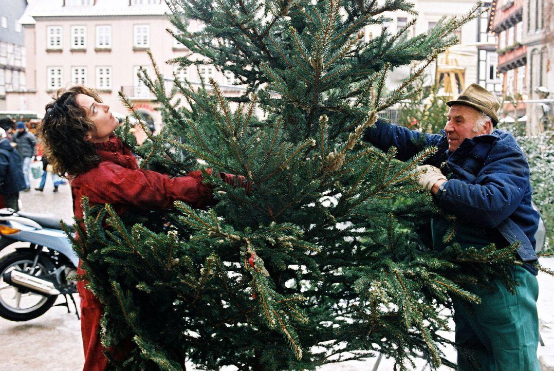 Marie (Natalie Wörner, l.) holt den von ihrer Tochter Lena bestellten Weihnachtsbaum vom Markt ab. Doch mit diesen Dimensionen hat sie nicht gerechn... - Bildquelle: Gordon Mühle Sat.1