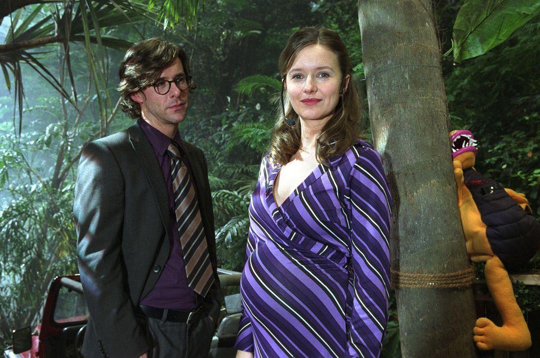 Dominik (Markus Meyer, l.) ist plötzlich aufgetaucht und sieht Nina (Stefanie Stappenbeck, r.) mit ihrem Schwangerschaftsbauch. Jetzt muss sie ihm d... - Bildquelle: Katrin Knoke Sat.1