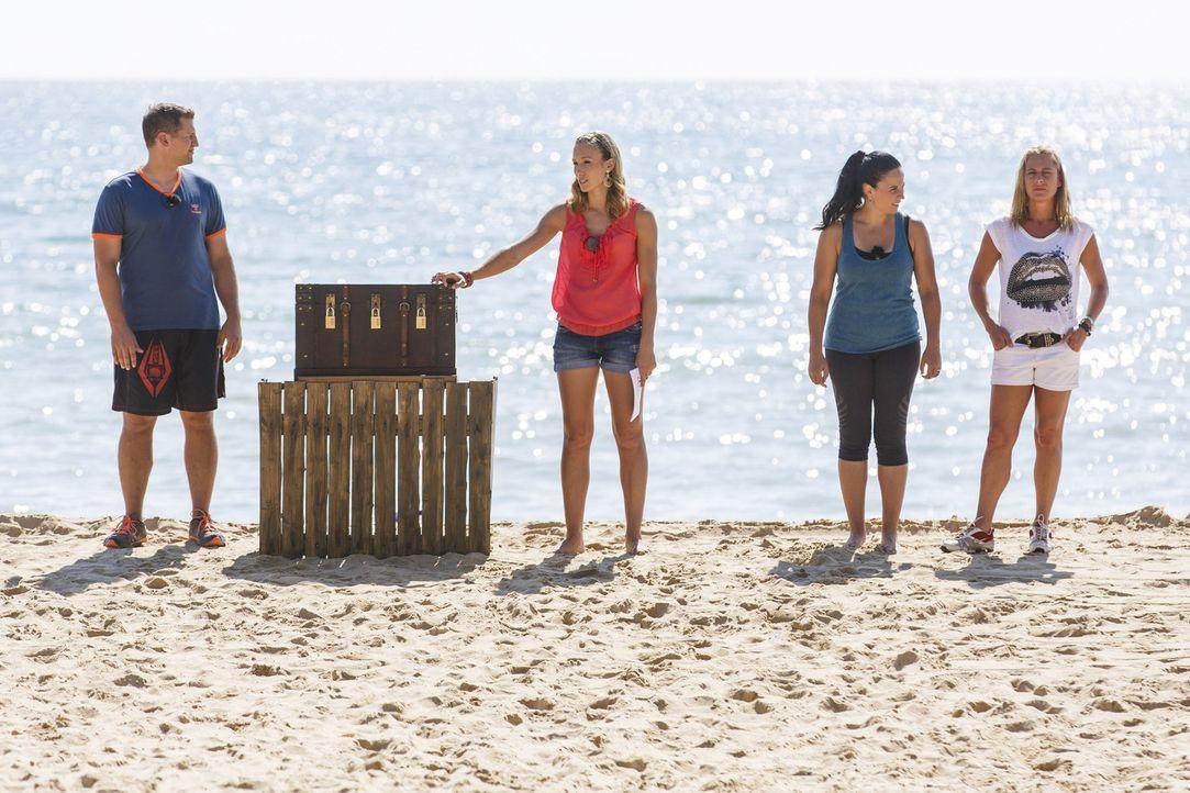 Christine Theiss (2.v.l.), Silke (2.v.r.), Ramin (l.) und Christine Tabacu (r.) warten am Strand mit einer neuen Challenge auf die Kandidaten ... - Bildquelle: SAT.1