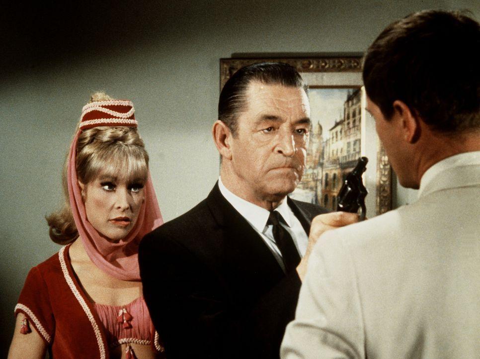 Tony (Larry Hagman, r.) wird vom Mafia-Boss Beng-Beng (Ted DeCorsia, M.) mit einer Pistole bedroht. Nur Jeannie (Barbara Eden, l.) kann helfen, die... - Bildquelle: Columbia Pictures