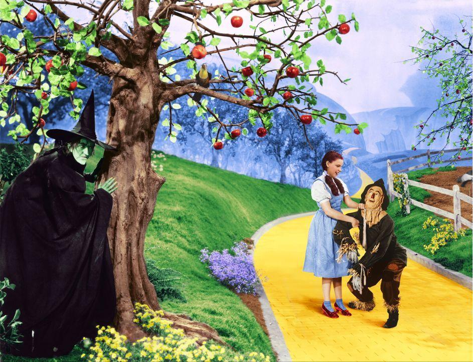 Gemeinsam mit ihrem Freund Vogelscheuche (Ray Bolger, r.) macht sich Dorothy (Judy Garland, M.) auf dem Weg zum Zauberer von Oz. Nur er kann ihr dab... - Bildquelle: Warner Bros.