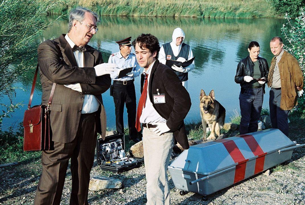 Ein Mann wurde tot am Donauufer gefunden. War es ein Unfall oder Mord? Dr. Graf (Gerhard Zemann, l.), Marc (Alexander Pschill, M.), Niki (Elke Winke... - Bildquelle: Ali Schafler Sat.1