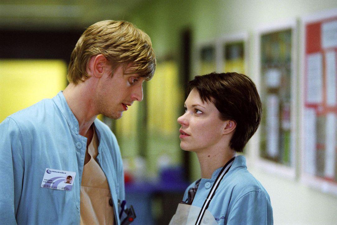 Hanna (Theresa Hübchen, r.) und Kai (Martin Glade, l.), der als Assistent von Prof. Winkler arbeitet, kommen sich näher, aber kann sie ihm auch ihre... - Bildquelle: Thiel Sat.1