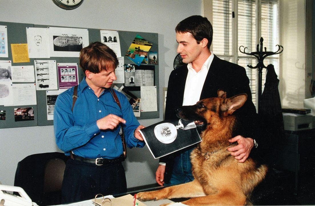 Böck (Heinz Weixelbraun, l.) will sich unbedingt vor seiner Mutter mit der Auszeichnung vom Polizeipräsidenten brüsten und borgt sich von Rex die Me... - Bildquelle: Ali Schafler Sat.1