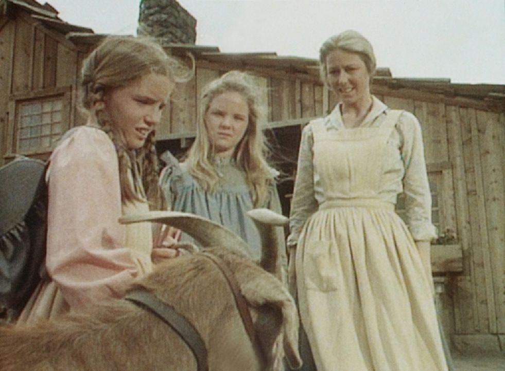 Caroline (Karen Grassle, r.) und Mary (Melissa Sue Anderson, M.) sind über die Ankunft des Ziegenbockes nur mäßig erfreut. Laura (Melissa Gilbert, l... - Bildquelle: Worldvision