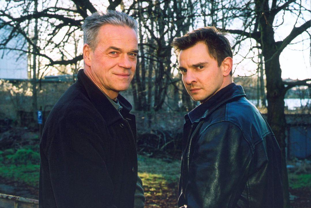 Kommissar Wolff (Jürgen Heinrich, l.) und Tom Borkamm (Steven Merting, r.) ermitteln im Team. - Bildquelle: Leslie Haslam Sat.1