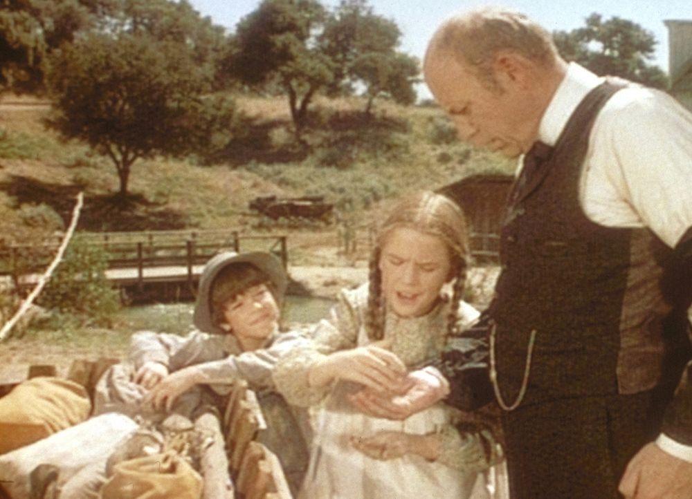Freudig bringen Jonah (Shane Sinutko, l.) und Laura (Melissa Gilbert, M.) ihr Gold zum Bankier Mr. Sprague (Ted Gehring, r.). - Bildquelle: Worldvision