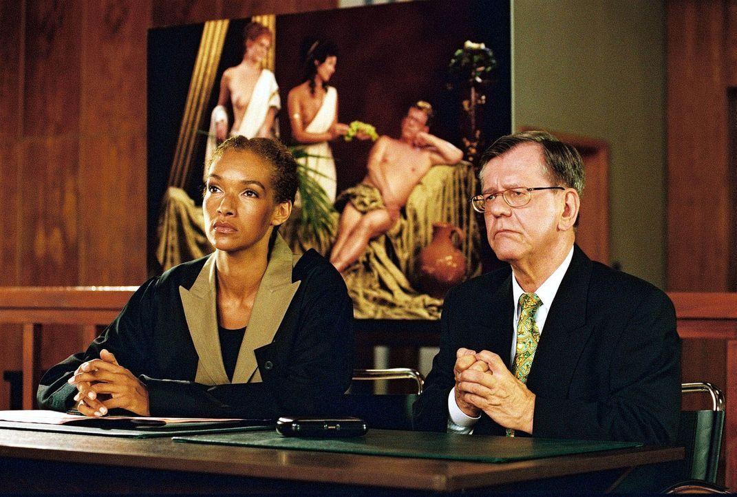 Finanzsenator Safin (Herbert Feuerstein, r.) und seine Anwältin Dr. Schnüll (Carol Campbell, l.) treten mit Entschiedenheit gegen eine öffentliche A... - Bildquelle: Hardy Spitz Sat.1