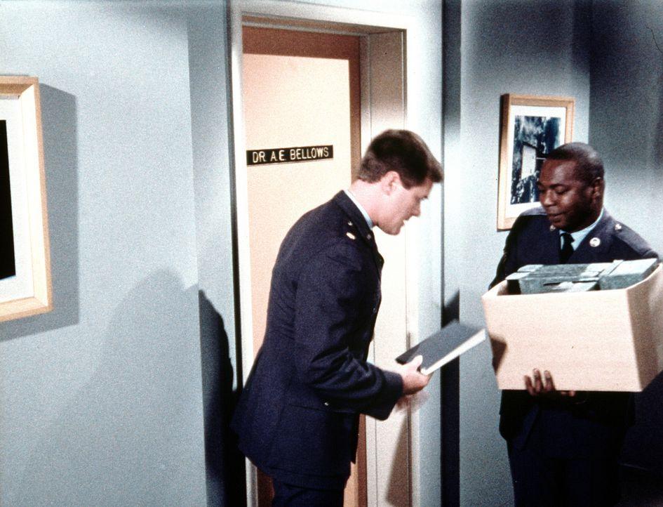 Tony (Larry Hagman, l.) will mit dem Psychiater Dr. Bellows (Hayden Rorke, r.) wegen des angeblichen Wundermittels sprechen, das jeden Fleck von Kle... - Bildquelle: Columbia Pictures