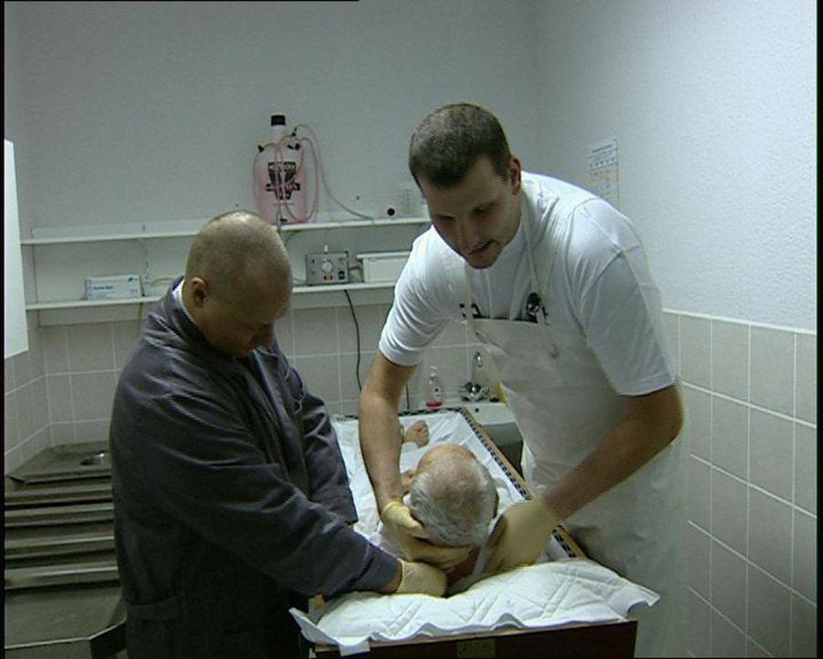 Detlef Mock (r.), Betsatter in Zeuthen bei Berlin, und ein Mitarbeiter bei der Aufbahrung einer Leiche ... - Bildquelle: SAT.1