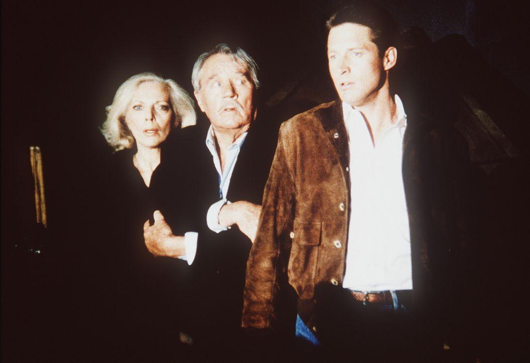Lee (Bruce Boxleitner, r.), sein Lehrmeister Thornton (Howard Duff, M.) und dessen Geliebte Christina Golitsyn (Barbara Bain, l.) stehen unter große...