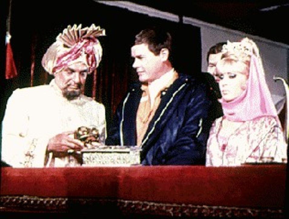 Gegen den Willen von (v.l.n.r.) Suleiman (Jackie Coogan) endlich am Ziel ihrer Wünsche: Tony (Larry Hagman) und Jeannie (Barbara Eden) ...