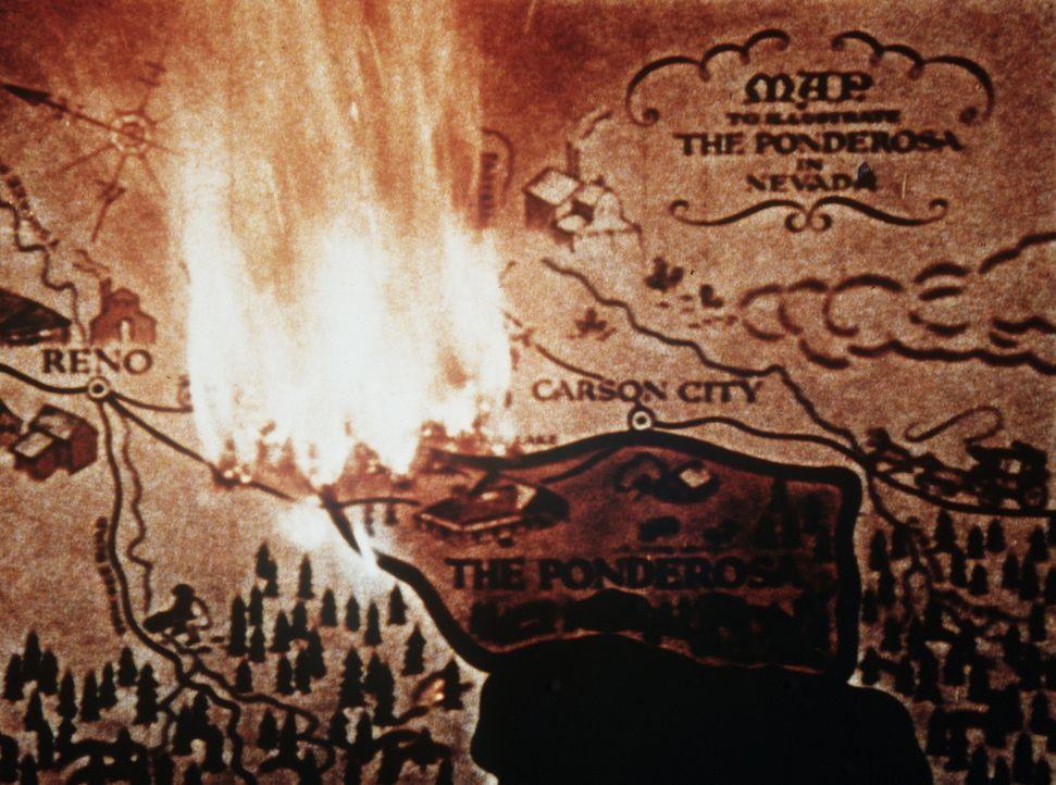 Die Landkarte von Virginia City und Umgebung, der Heimat der Cartwrights. - Bildquelle: Paramount Pictures