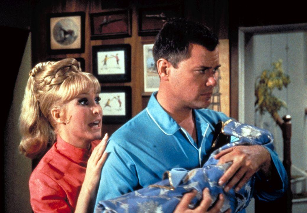 Tony (Larry Hagman, r.) findet zu Hause nicht nur Jeannie (Barbara Eden, l.), sondern auch ein schreiendes Baby. - Bildquelle: Columbia Pictures