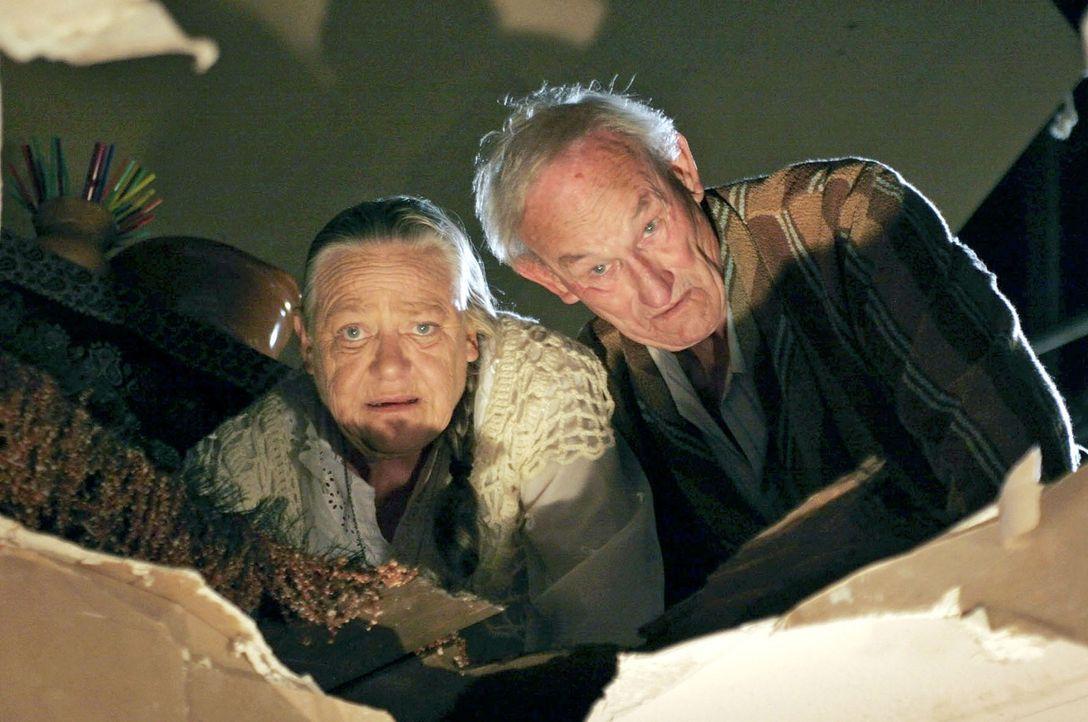 Theresa (Barbara Morawiecz, l.) und Albert (Ronald France, r.) haben eine Decke zum Einsturz gebracht. - Bildquelle: Boris Guderjahn Sat.1