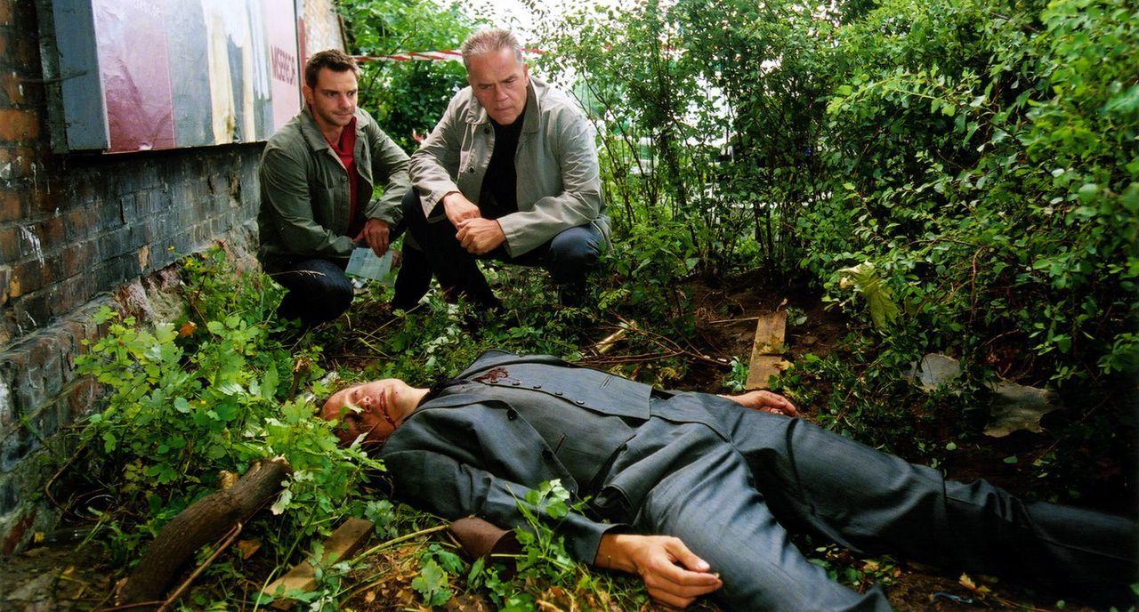 Kommissar Wolff (Jürgen Heinrich, M.) und Tom (Steven Merting, l.) finden den ermordeten Uwe Winter (Felix Bresser, liegend) - Bildquelle: Claudius Pflug Sat.1