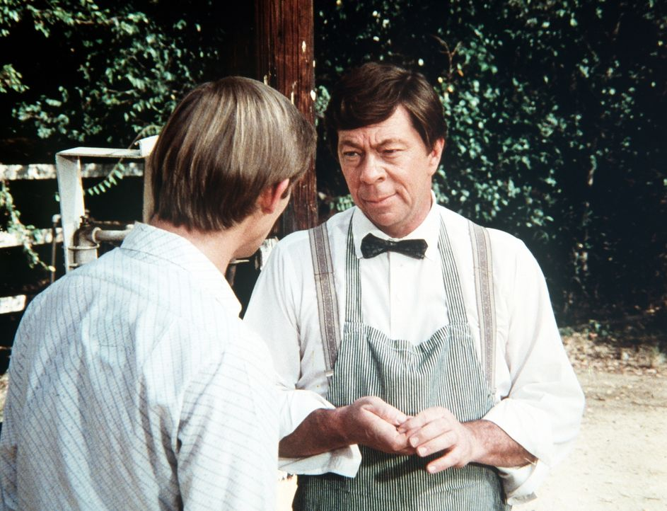 Ike (Joe Conley, r.) fragt John-Boy (Richard Thomas, l.) über Corabeth, die überraschend im Hause der Waltons aufgetaucht ist, aus. - Bildquelle: WARNER BROS. INTERNATIONAL TELEVISION