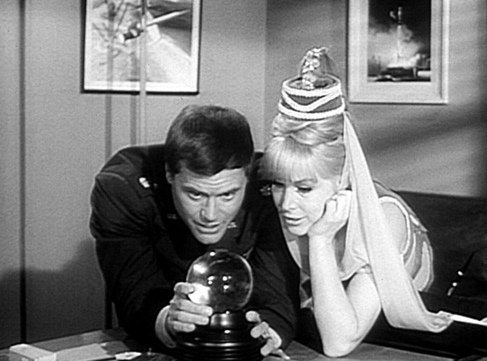 Tony (Larry Hagman, l.) experimentiert mit einer Kristallkugel. Er erklärt Jeannie (Barbara Eden, r.), wie die Wahrsagerin den Hokuspokus fertigbrin... - Bildquelle: Columbia Pictures
