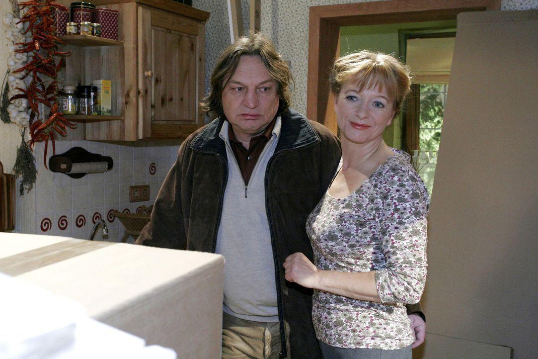 Als Bernd (Volker Herold, l.) mit unguten Neuigkeiten nach Hause kommt, präsentiert ihm Helga (Ulrike Mai, r.) freudestrahlend die neue Küche. - Bildquelle: Noreen Flynn Sat.1