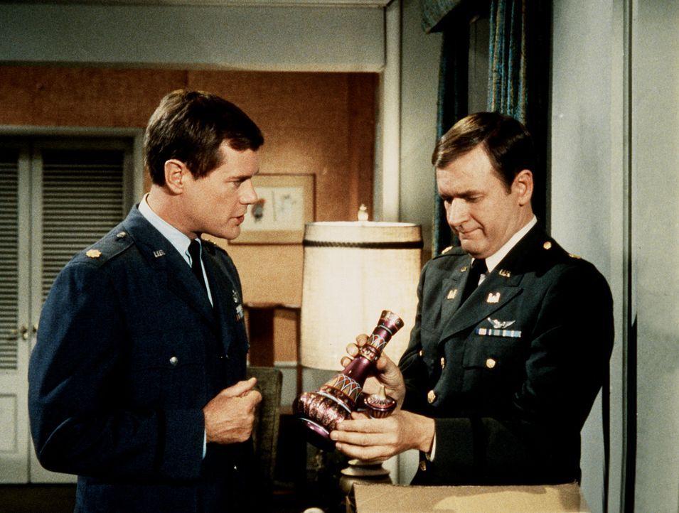 Tony (Larry Hagman, l.) und Roger (Bill Daily, r.) haben eine Kopie von Jeannies Flasche anfertigen lassen, die sie leider statt des Originals mitne... - Bildquelle: Columbia Pictures