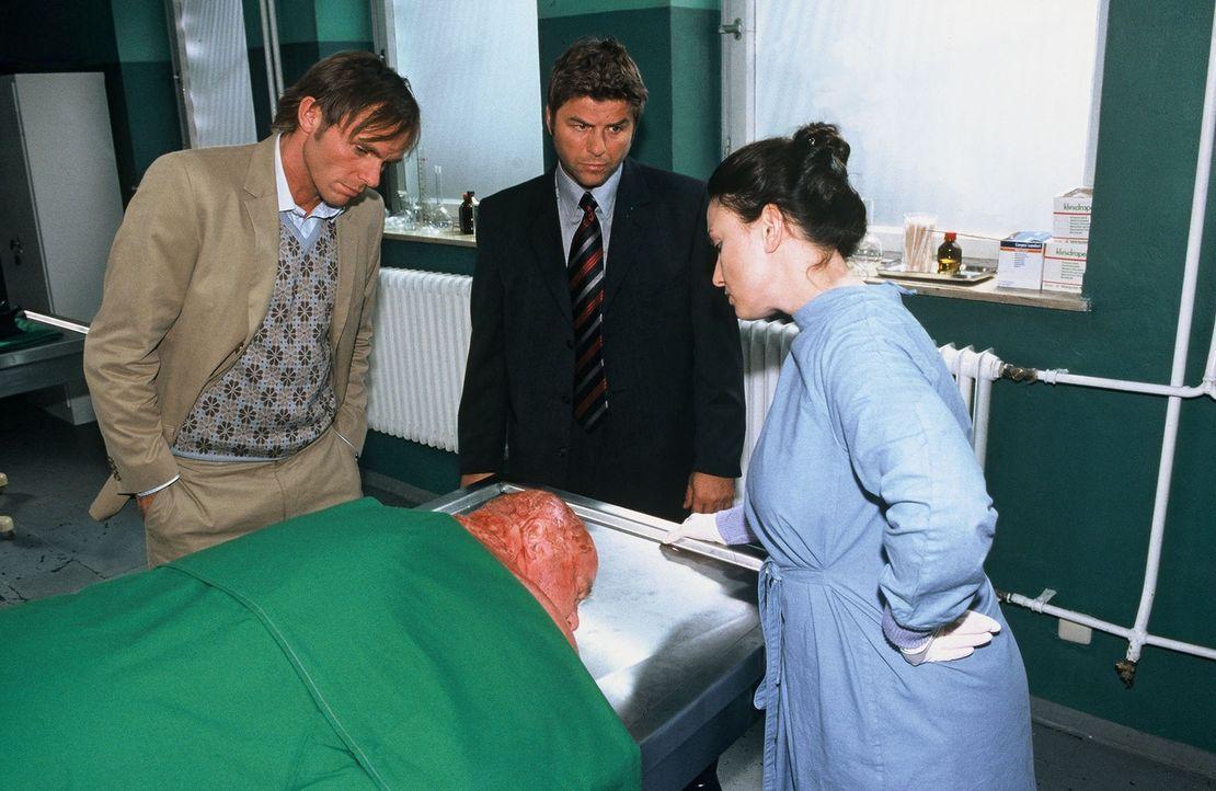 Jupp (Uwe Fellensiek, M.) und Falk (Dirk Martens, l.) schauen gemeinsam mit der Pathologin (Tatjana Clasing, r.) die Leiche an. - Bildquelle: Münstermann Sat.1