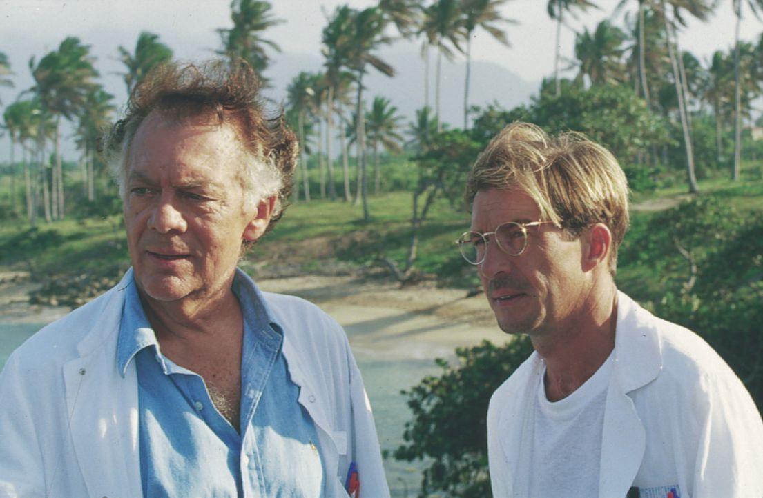 Dr. Frank Hofmann (Klausjürgen Wussow, l.); Dr. Peter Sander (Michael Lesch, r.) - Bildquelle: Lisa Film