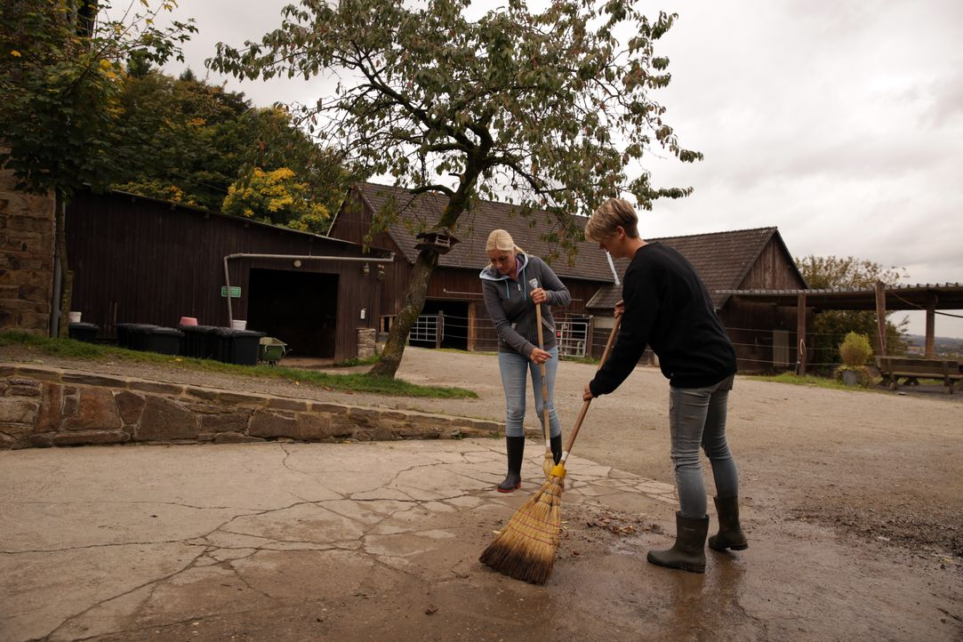 Auch auf dem Reiterhof fällt immer viel Arbeit an: Tanja (l.) und Katrin (r.) im Dauereinsatz ... - Bildquelle: SAT.1 Gold