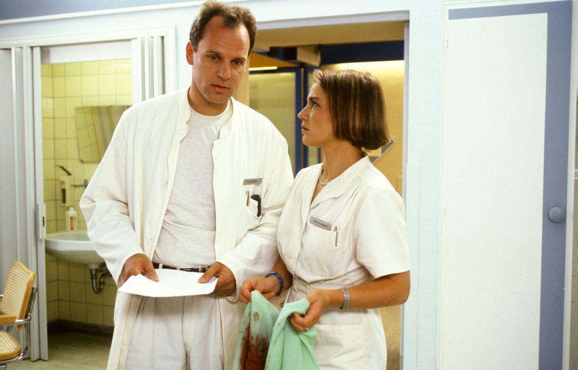 Schwester Stephanie (Claudia Schmutzler, r.) weiß nicht, was mit Dr. Nerlinger (Herbert Trattnigg, l.) los ist. Nicht nur, dass er sie am Vorabend... - Bildquelle: Noreen Flynn Sat.1