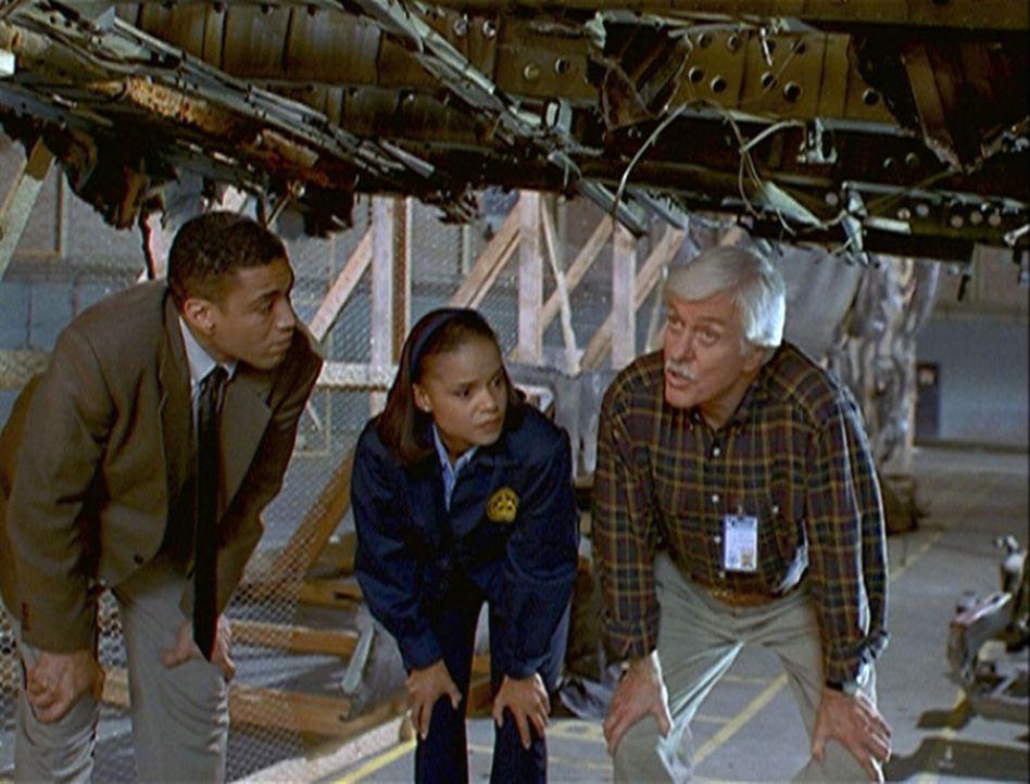 Wagner (Harry J. Lennix, l.), Amanda (Victoria Rowell, M.) und Mark (Dick Van Dyke, r.) untersuchen die Wrackteile eines abgestürzten Jumbos. - Bildquelle: Viacom