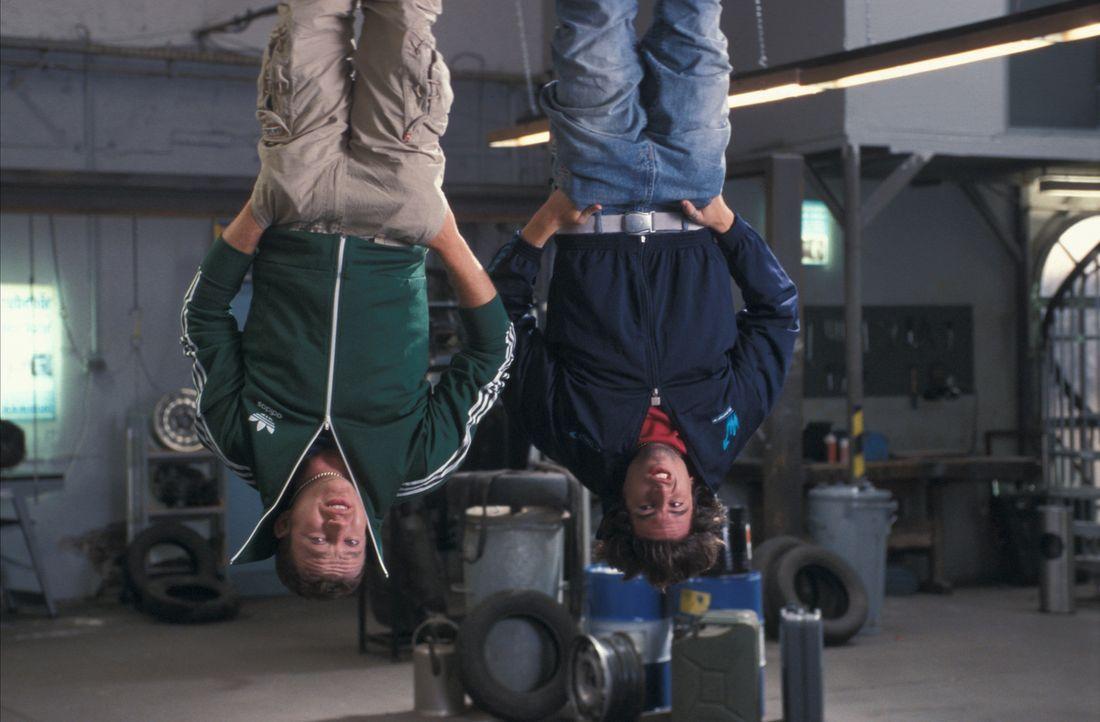 Kopfüber ins Verderben: Kemal (Josef Heynert, l.) und Yogi (Tom Beck, r.) stecken mal wieder bis zum Hals in Schwierigkeiten ... - Bildquelle: ProSieben