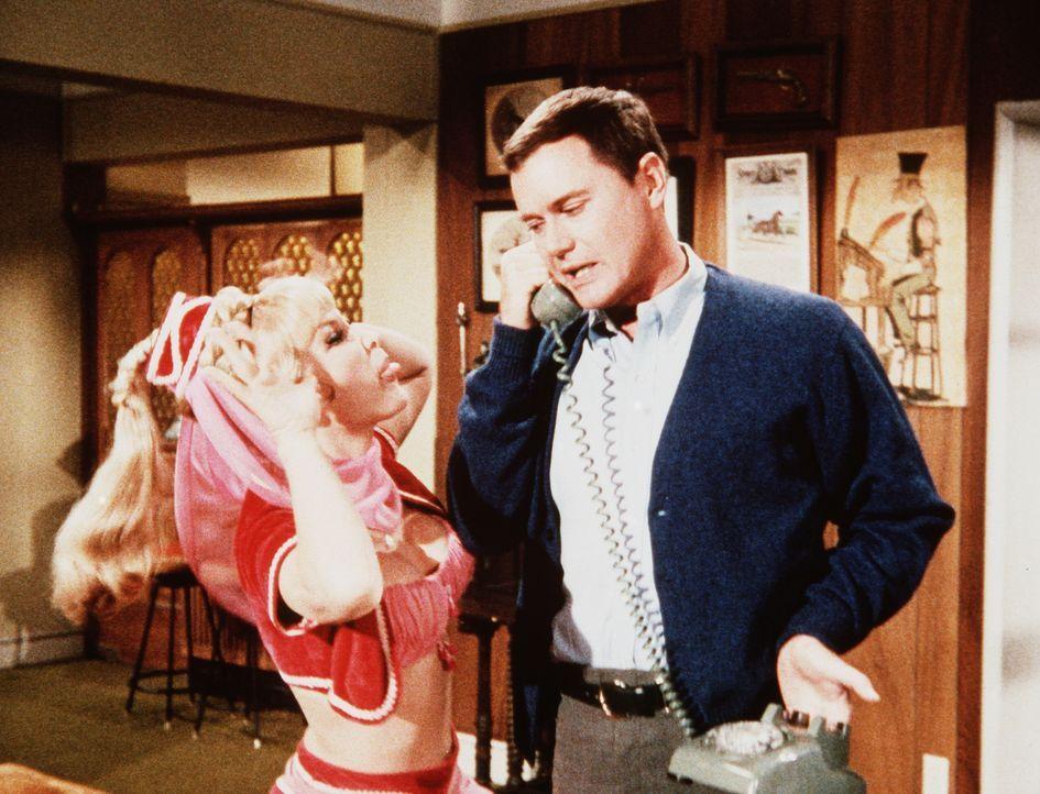 Jeannie (Barbara Eden, l.) ist beleidigt, als Tony (Larry Hagman, r.) ihr mitteilt, dass sie für eine Weile das Haus verlassen muss, weil Roger zur... - Bildquelle: Columbia Pictures