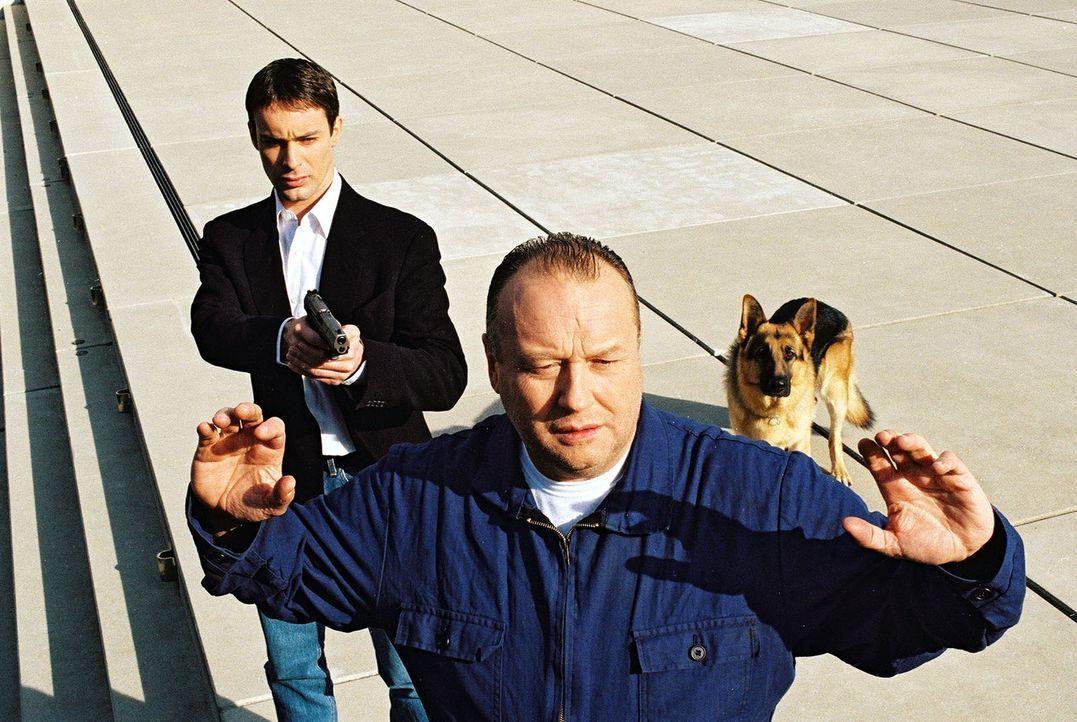 Kommissar Brandtner (Gedeon Burkhard, l.) und Rex haben den Verdächtigen Gerhard Frank (Thomas Thieme, r.) gestellt. Was hat er mit dem Giftgas-Atte... - Bildquelle: Ali Schafler Sat.1