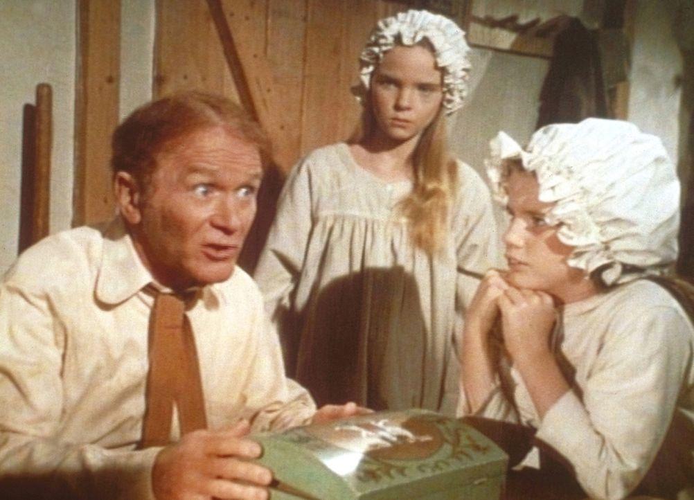 Laura (Melissa Gilbert, r.) und Mary (Melissa Sue Anderson, M.) hören Mr. O' Hara (Red Buttons, l.) gespannt zu. - Bildquelle: Worldvision