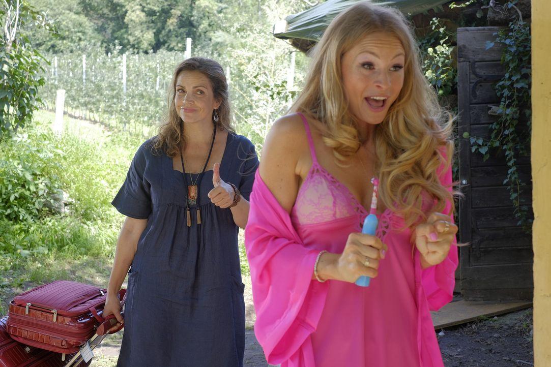 Perfekte Rache: Claudia (Rebecca Immanuel, l.) gibt Amanda (Jana Julie Kilka, r.) einen Tipp, der voll daneben geht ... - Bildquelle: Jacqueline Krause-Burberg SAT.1/Jacqueline Krause-Burberg