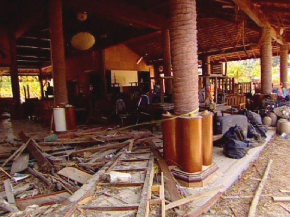Das vom Tsunami zerstörte Restaurant. - Bildquelle: Sat.1