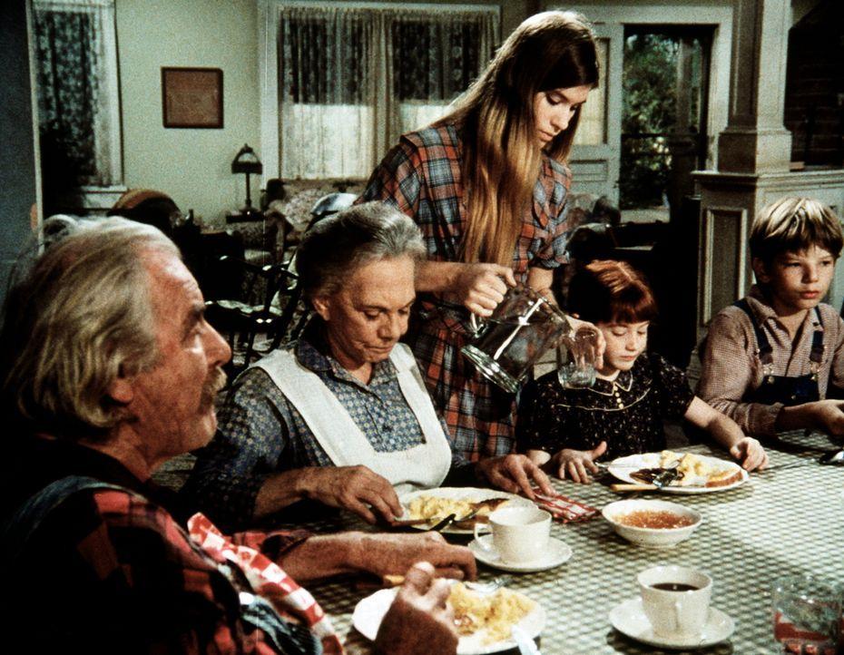 Die ganze Familie fiebert John-Boys Abschlussprüfung entgegen. (V.l.n.r.) Sam (Will Geer), Ester (Ellen Corby), Mary Ellen (Judy Norton-Taylor), Eli... - Bildquelle: WARNER BROS. INTERNATIONAL TELEVISION