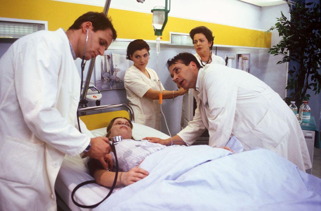 Was fehlt der Patientin Helga Hall (Corinna Kirchhoff, 2.v.l.)? Dr. Nerlinger (Herbert Trattnigg, l.), Stephanie (Claudia Schmutzler, M.), Dr. Stein... - Bildquelle: Noreen Flynn Sat.1