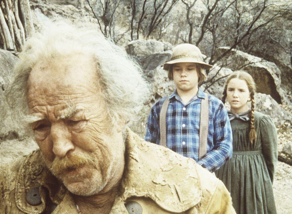 Der alte Goldsucher Zachariah (E. J. Andre, l.) erzählt Laura (Melissa Gilbert, r.) und Carl (Brian Part, M.), dass er zwar viel Gold gefunden, aber... - Bildquelle: Worldvision