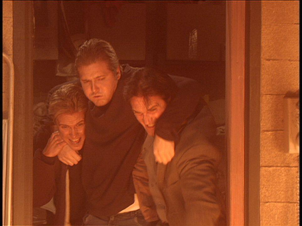 Steve (Barry Van Dyke, r.) kommt gerade noch rechtzeitig, um zwei Menschen aus einem brennenden Keller zu retten. - Bildquelle: Viacom