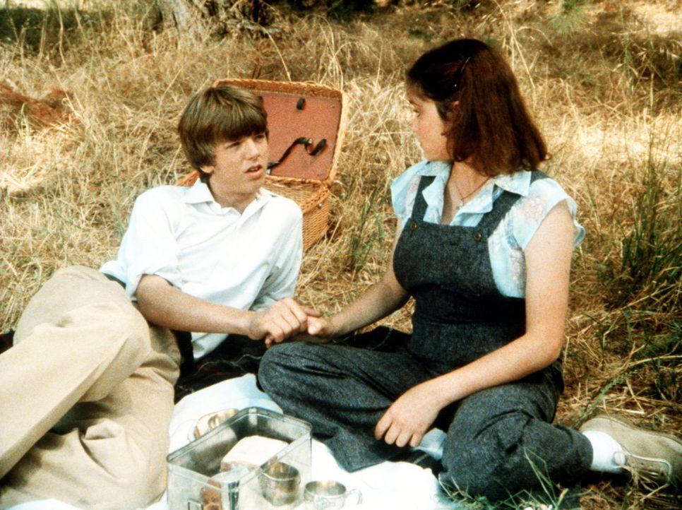 Hand in Hand sitzen Jim Bob Walton (David W. Harper, l.) und die Klosterschülerin Mary Frances (Stacey Nelkin, r.) im Gras von Waltons Mountains. Fü... - Bildquelle: WARNER BROS. INTERNATIONAL TELEVISION