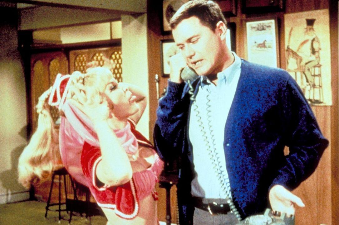 Jeannies (Barbara Eden, l.) kleines Zauberhündchen Djinn-Djinn dringt unerlaubterweise bei der NASA ein. Kann Tony (Larry Hagman, r.) den Hund noch...