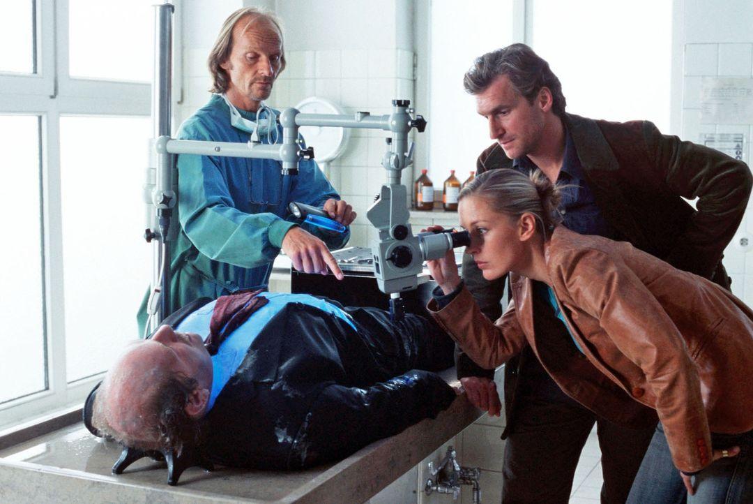 Gerichtsmediziner Dr. Jahn (Eisi Gulp, l.) untersucht die gefrorene Leiche des Bürgermeisters und zeigt Rebecca (Lilian Klebow, M.) und Marc (Siegfr... - Bildquelle: Kerstin Stelter Sat.1